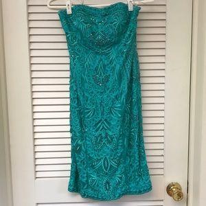 Sue Wong - Turquoise Embellished Strapless Dress
